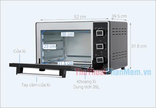 Kích thước lò nướng Sanaky VH3599S2D 35 lít