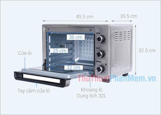 Kích thước lò nướng Sharp EO-A323RCSV-ST 32 lít