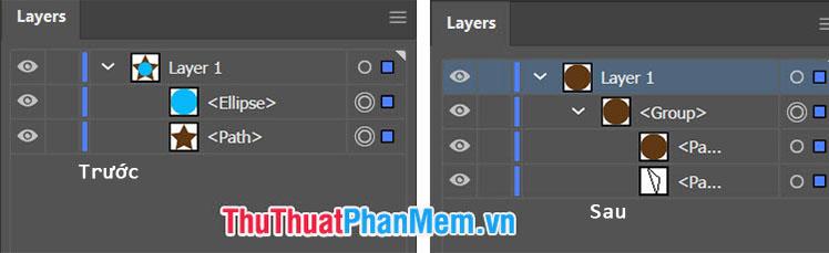 Lệnh Crop sẽ giữ phần nhìn thấy ở layer phía trước và phần không giao nhau giữa layer trước