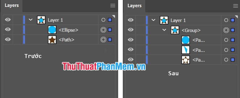 Lệnh Divide được dùng để chia nhỏ các đối tượng và tạo thành các layer mới