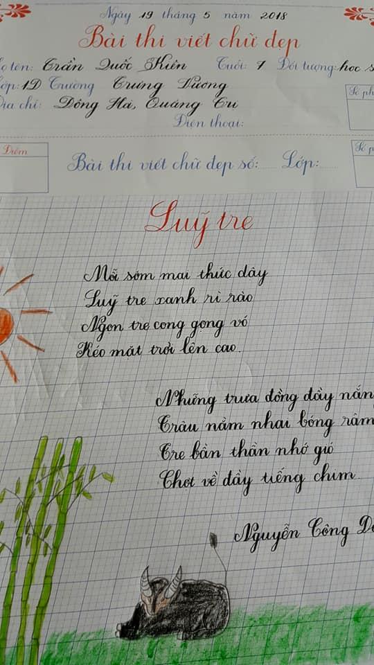 Mẫu chữ viết đẹp nhất của học sinh