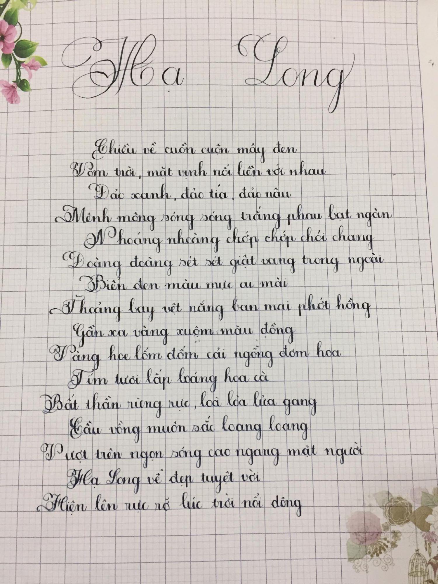 Mẫu luyện viết chữ đẹp của học sinh