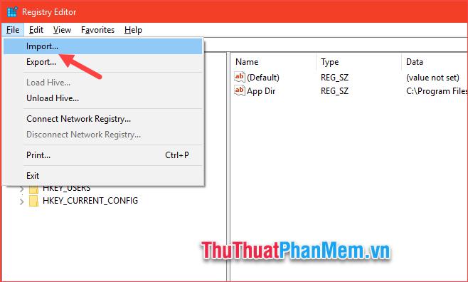 Muốn khôi phục lại Registry chỉ cần chọn File - Import...