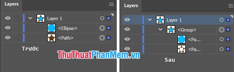 Nếu 2 layer có cùng một màu thì lệnh Merge sẽ tự động gộp cả 2 layer cùng màu với nhau