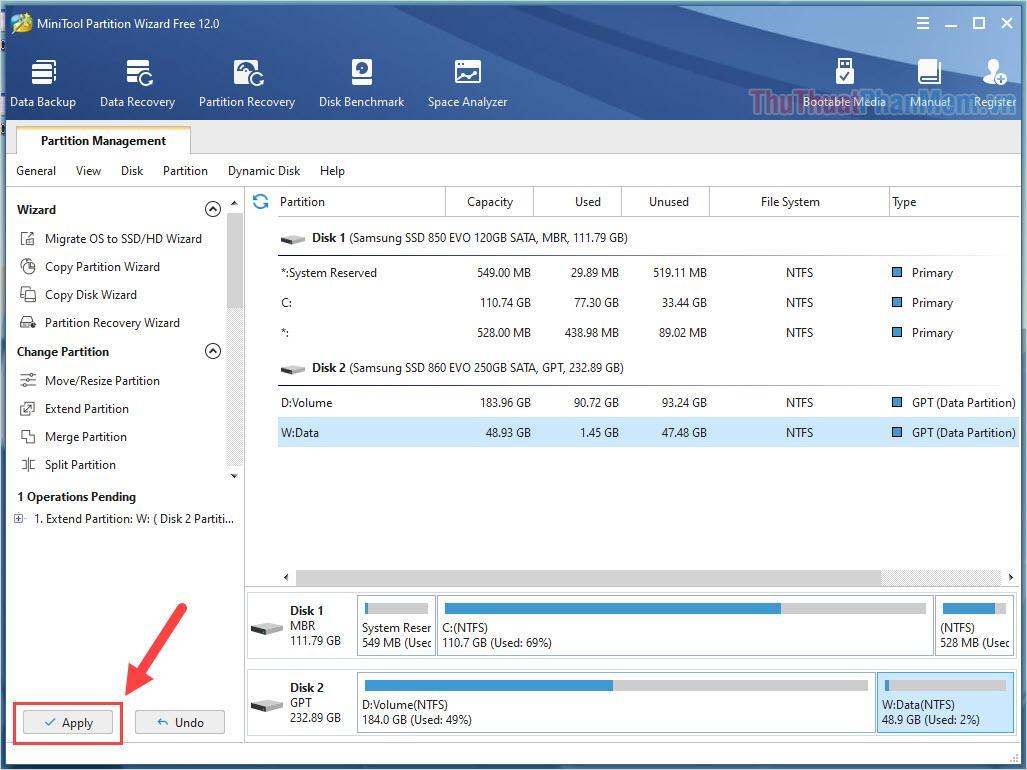 Nhấn Apply để áp dụng những thay đổi mới lên ổ đĩa