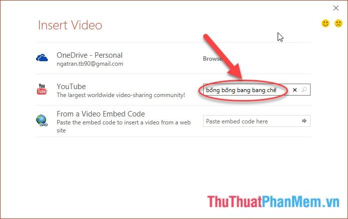 Nhập cụm từ tìm kiếm cho video bạn cần chèn