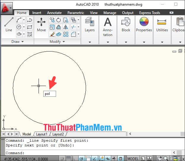 Nhập lệnh POL và nhấn Enter để vẽ hình đa giác