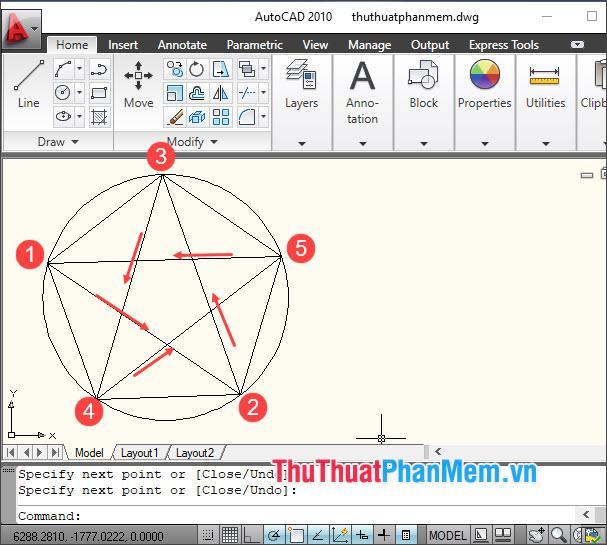 Nối các điểm của hình ngũ giác để thạo thành hình ngôi sao năm cánh