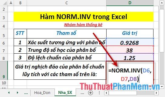 Tại ô cần tính nhập công thức =NORM.INV(D6,D7,D8)