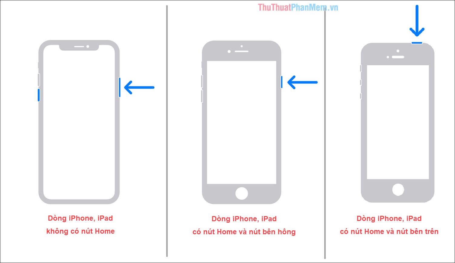 Tắt nguồn iPhone, iPad bằng phím vật lý