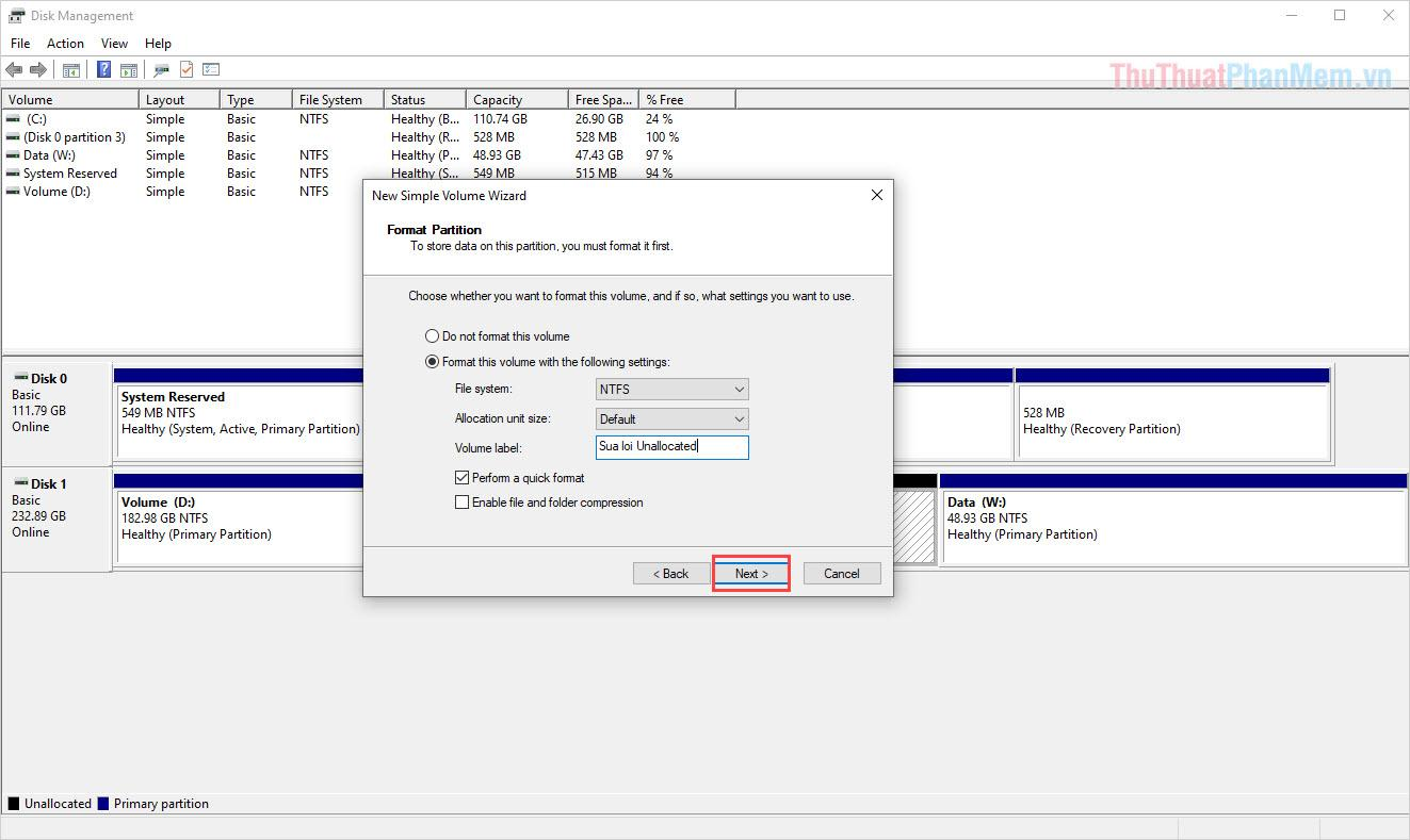 Tiến hành đặt tên cho phân vùng lưu trữ mới và nhấn Next để hoàn tất