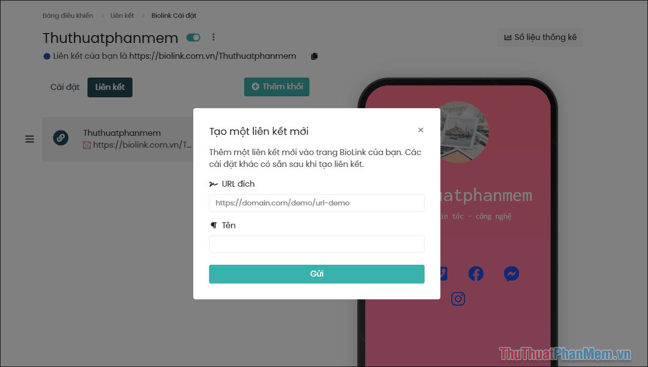 Tiến hành thêm liên kết vào BioLink và các thông tin cần điền
