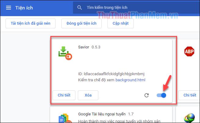 Tiện ích Savior đã được cài vào trình duyệt Chrome