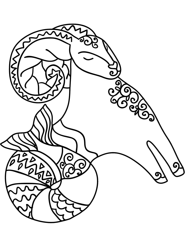 Tranh tô màu cung hoàng đạo Bạch Dương cho bé