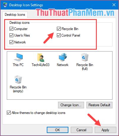 Trong mục Desktop icons, muốn hiện biểu tượng nào thì tích chọn ở biểu tượng đó