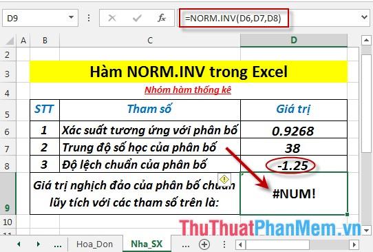 Trường hợp standard_dev ≤ 0 - hàm trả về giá trị lỗi #NUM!