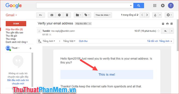 Truy cập Email và xác nhận tài khoản