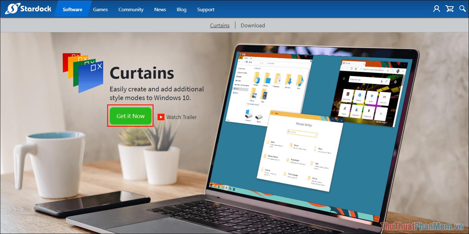 Truy cập trang chủ của Stardock Curtains để tải phần mềm về máy tính