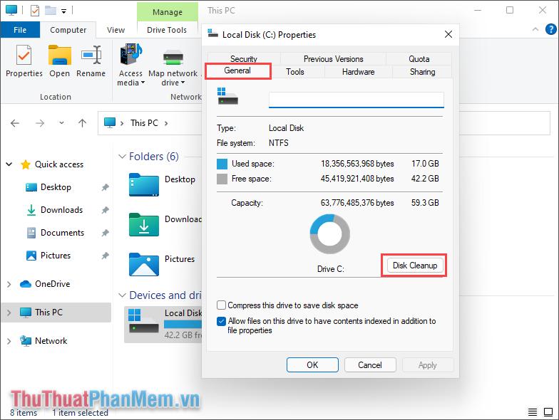 Chọn mục Disk Cleanup để bắt đầu quét dữ liệu và làm sạch dữ liệu