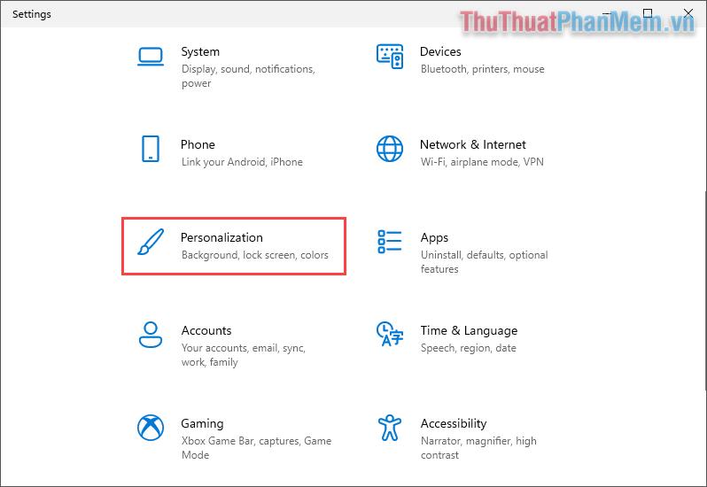 Chọn thẻ Personalization để cá nhân hóa theo nhu cầu sử dụng riêng của bản thân