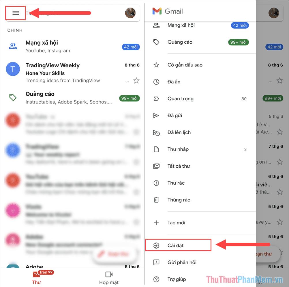 Chọn thẻ Tùy chọn và tìm đến mục Cài đặt để xem thiết lập trên điện thoại
