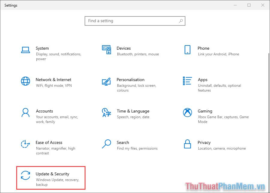 Chọn thẻ Update & Security để mở chế độ cập nhật và bảo mật trên máy tính