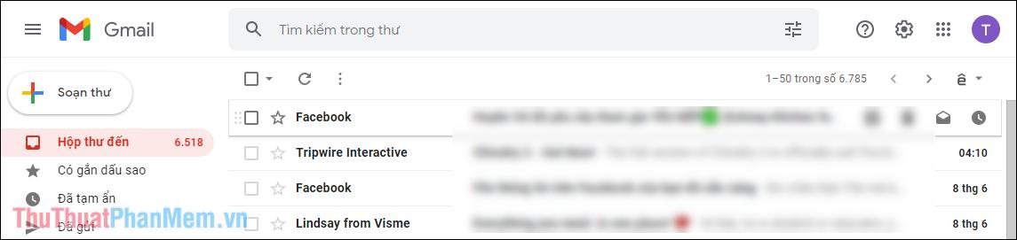 Giao diện Email lúc này của bạn sẽ được thay đổi