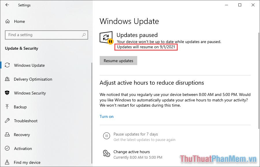 Hiện nay, Microsoft hỗ trợ tạm dừng tới 4 tháng