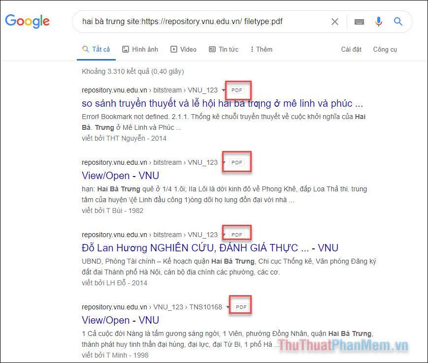 Kết quả tìm kiếm sẽ hiển thị các tệp PDF liên quan đến Hai Bà Trưng trên trang Repository.vnu