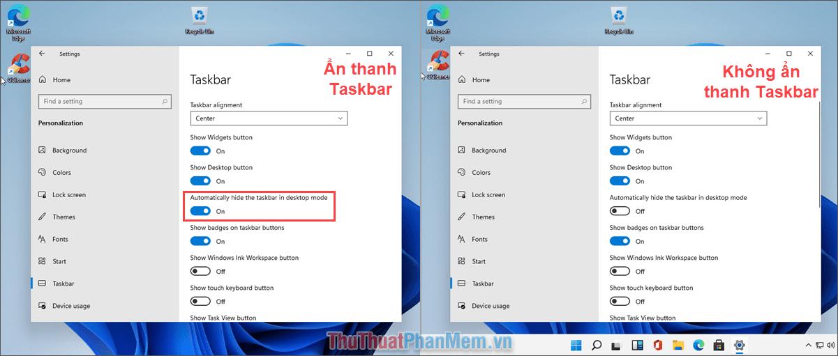 Kích hoạt tính năng Automatically hide the taskbar in desktop mode