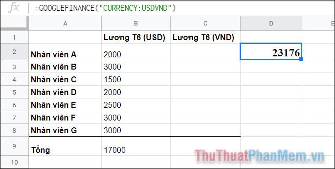 Tại thời điểm này, con số có nghĩa rằng 1 USD = 23176 VND