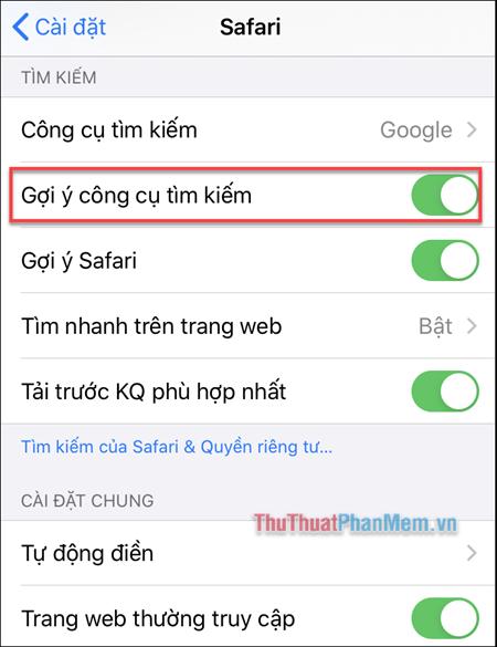Tìm đến dòng Gợi ý công cụ tìm kiếm và tắt nó đi