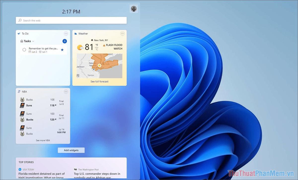 Windows + W Mở Widget nhanh